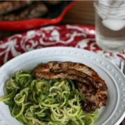 Pan Seared Balsamic Chicken with Avocado Pesto Zoodles