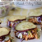 Slow Cooker Buffalo Chicken Sliders {Whole30, GF, DF}
