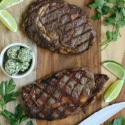 Grilled Ribeye Steak with Cilantro Lime Chimichurri {Whole30}