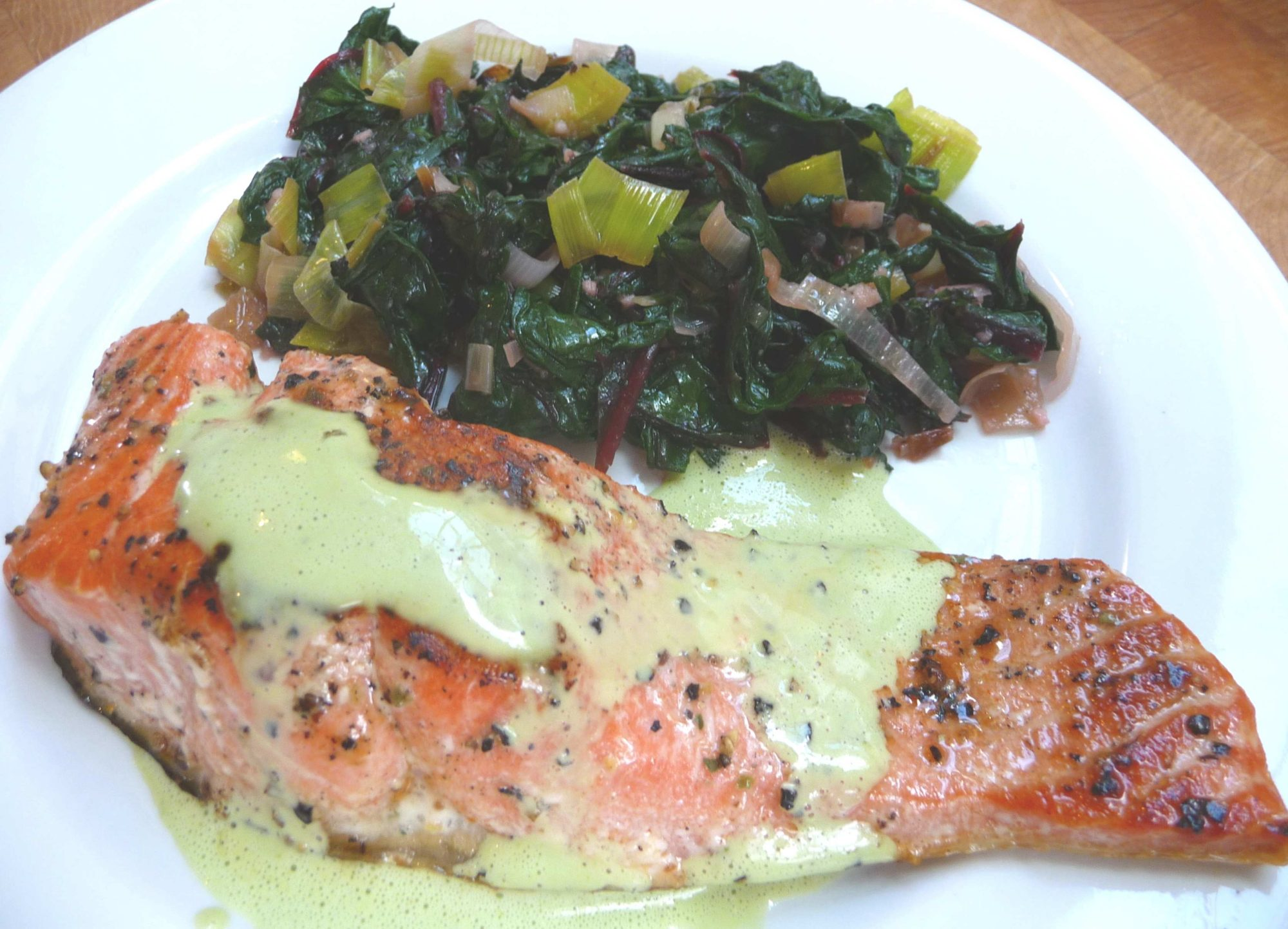 Seared Salmon with Wasabi Sauce and Wilted Greens (GF)
