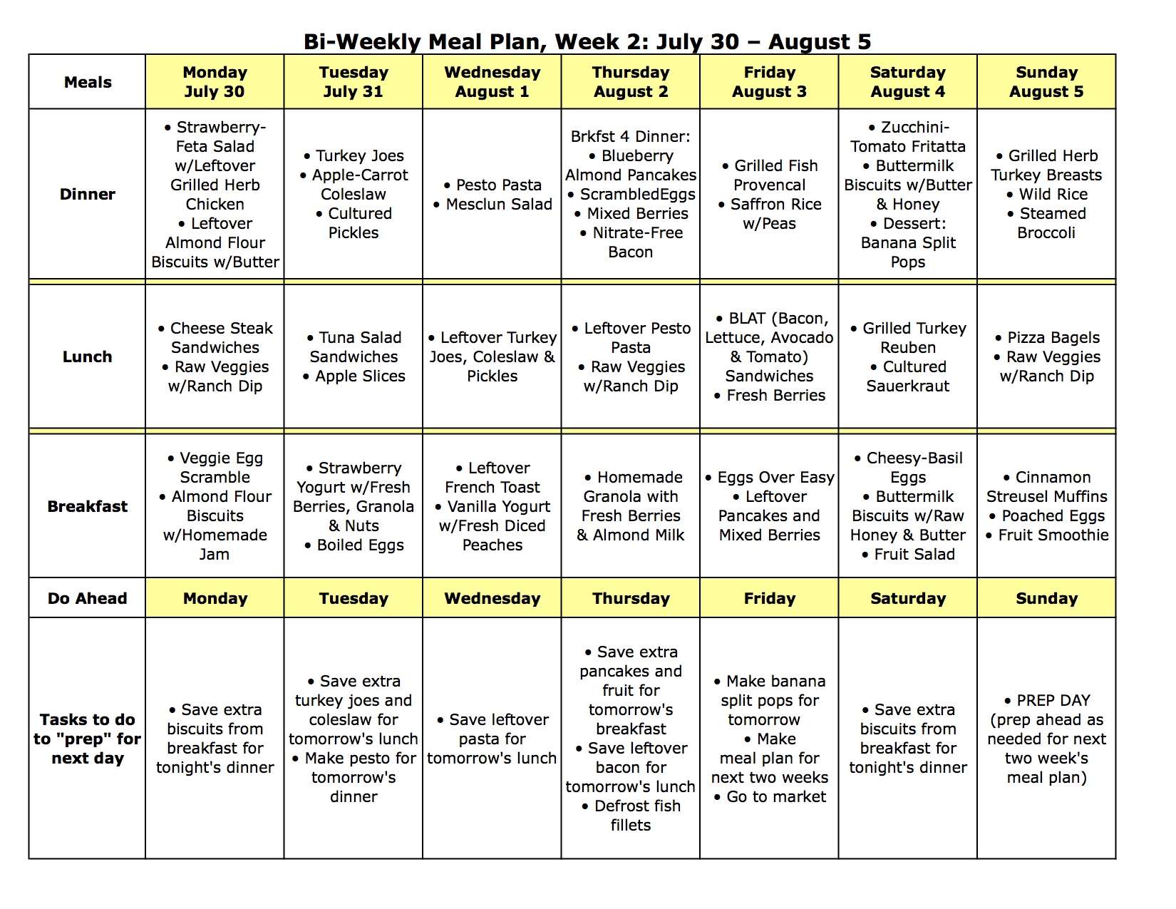 two week meal planner