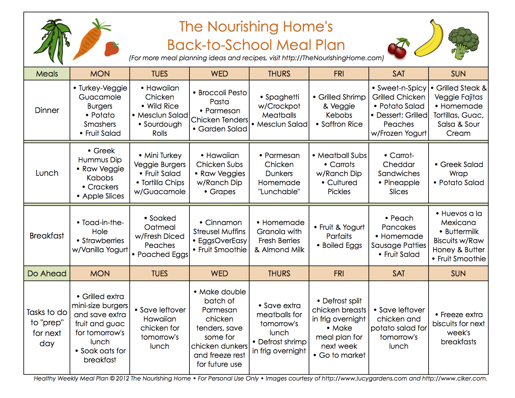 1st week back to school meal plan the nourishing home for Healthy home plans
