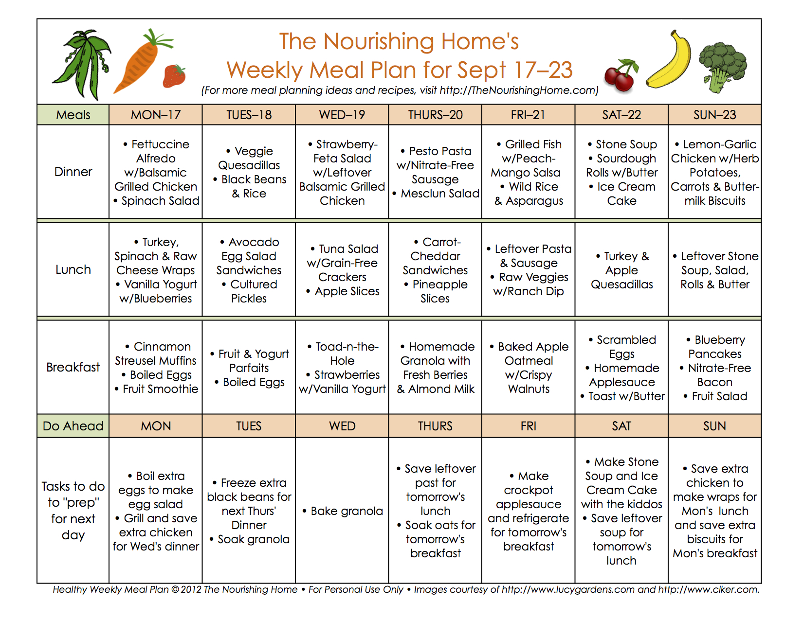Meal Plan Monday: September 17–30 - The Nourishing Home