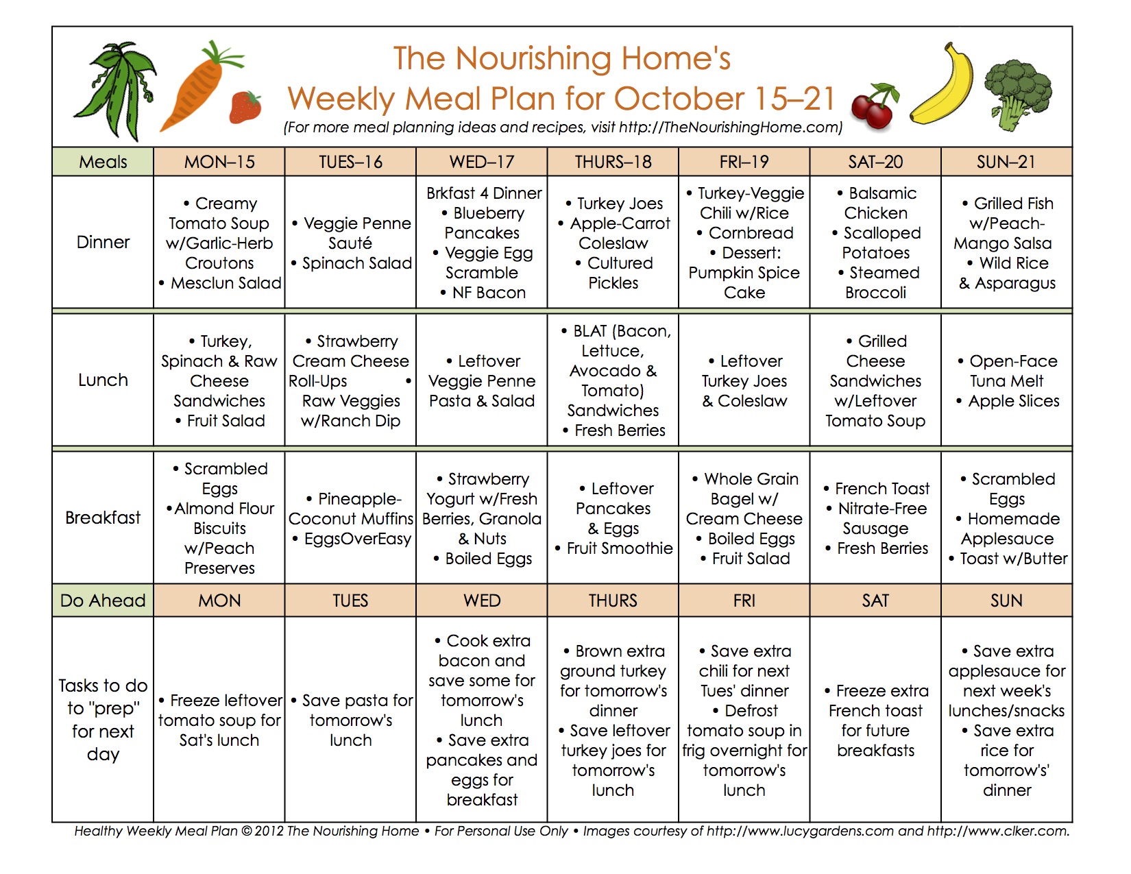 Meal Plan Monday October 15 28 The Nourishing Home