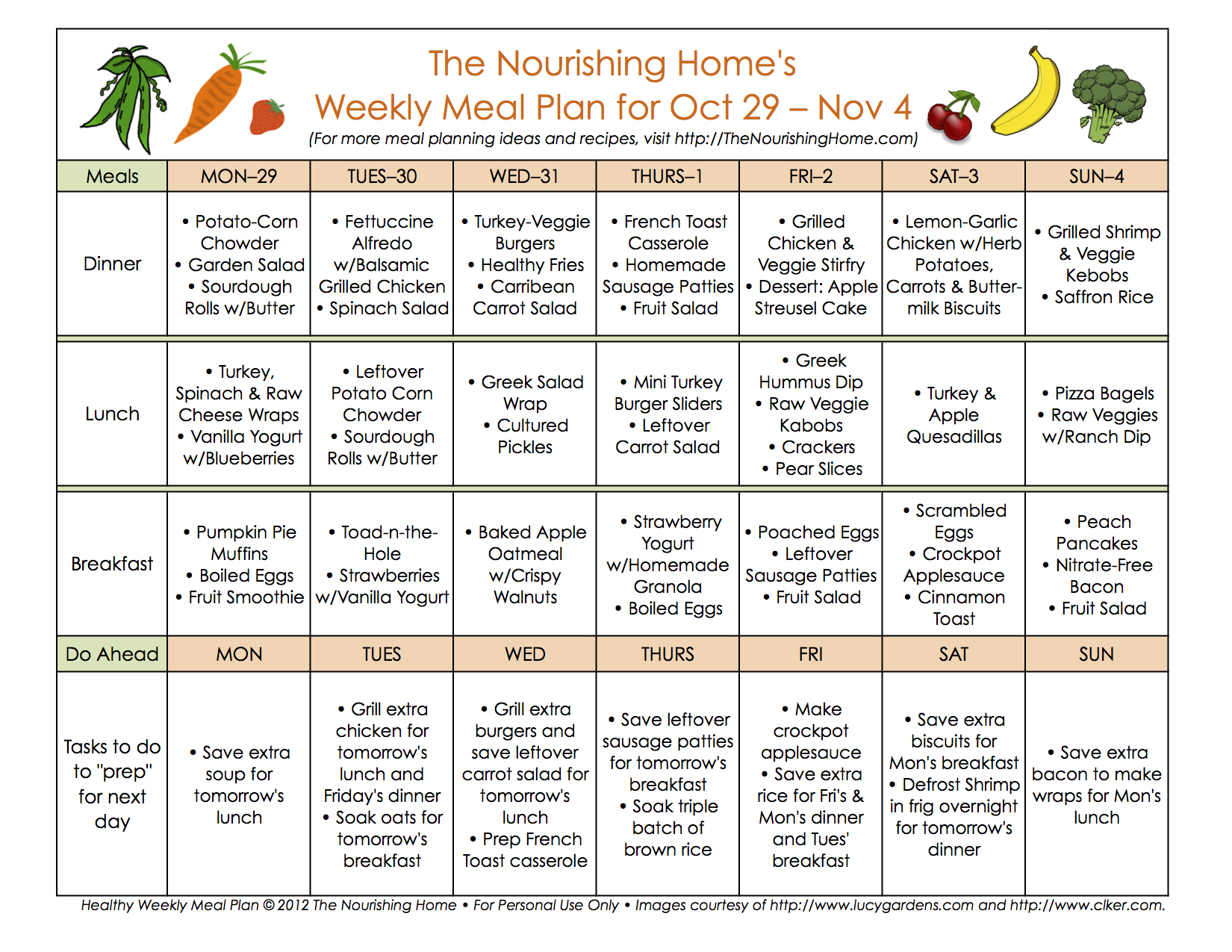 Meal plan monday october 29 november 11 the for Healthy home plans