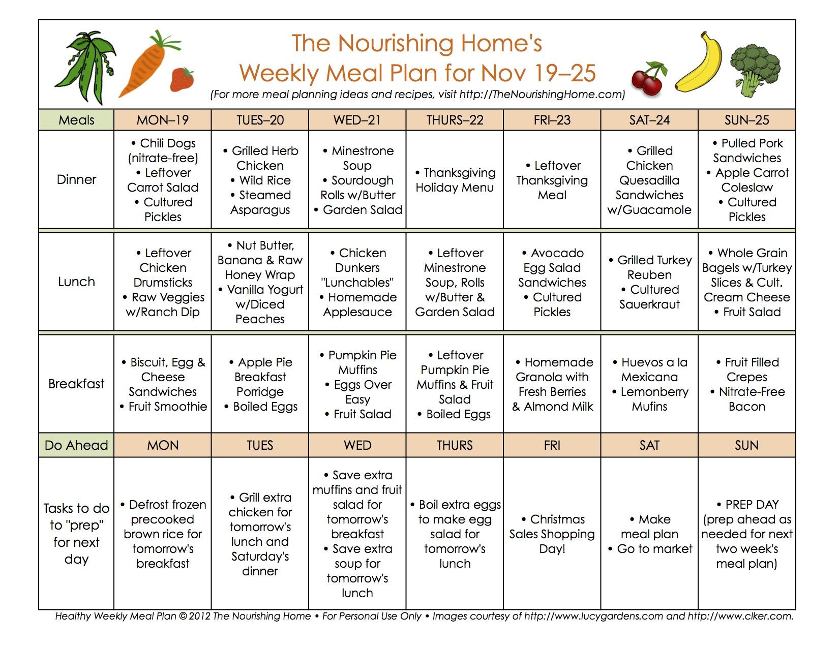 Meal Plan Monday: November 12–25 (Thanksgiving Meal Plan) - The ...