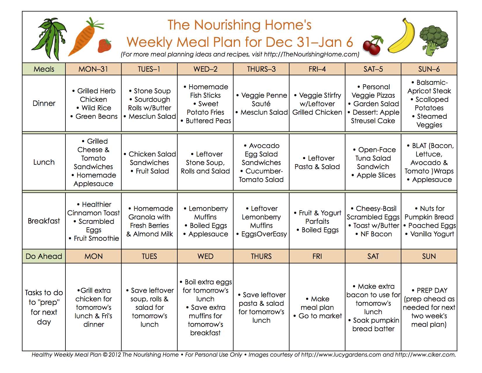 Meal Plan Monday December 24 January 6 The Nourishing