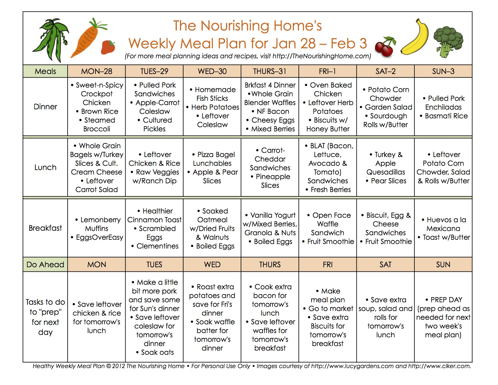 Meal Plan Monday January February The Nourishing Home