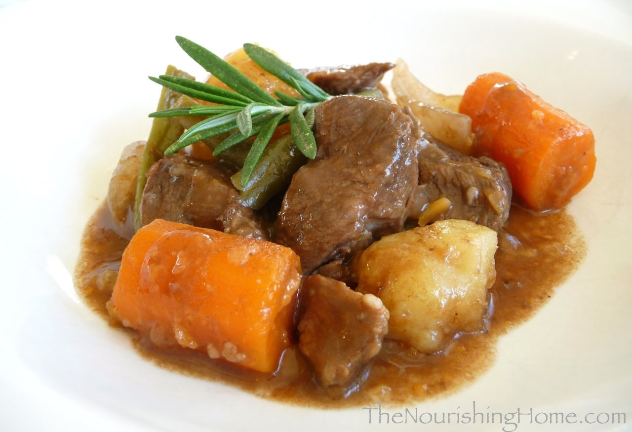 Easy Crockpot Beef Stew (GF, DF) - The Nourishing Home