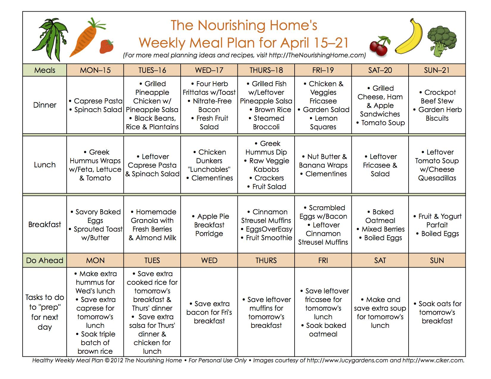 Meal Plan Monday April 15 28 The Nourishing Home
