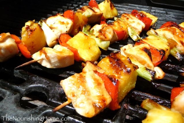 Chicken kebobs on grill