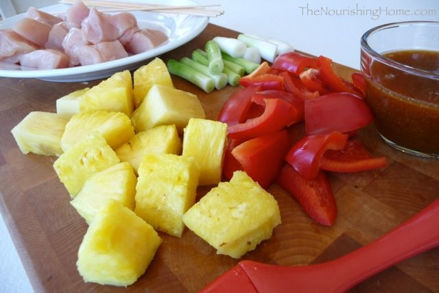 chicken kebobs mise en place