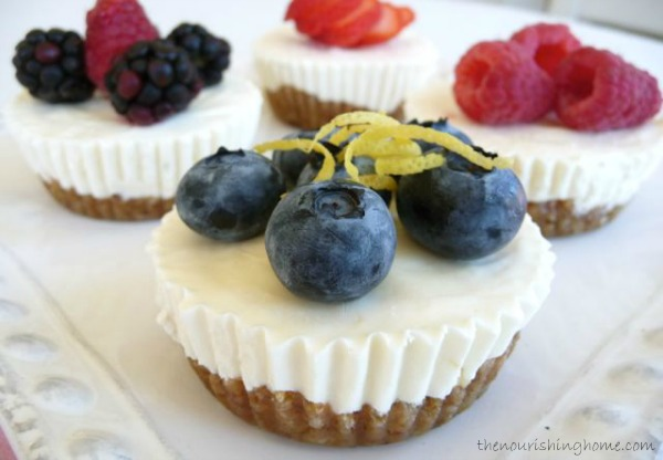 These scrumptious little grain-free mini-cheesecakes are so creamy and lemony with just the right balance of sweetness. And you can make them ahead of time for company!