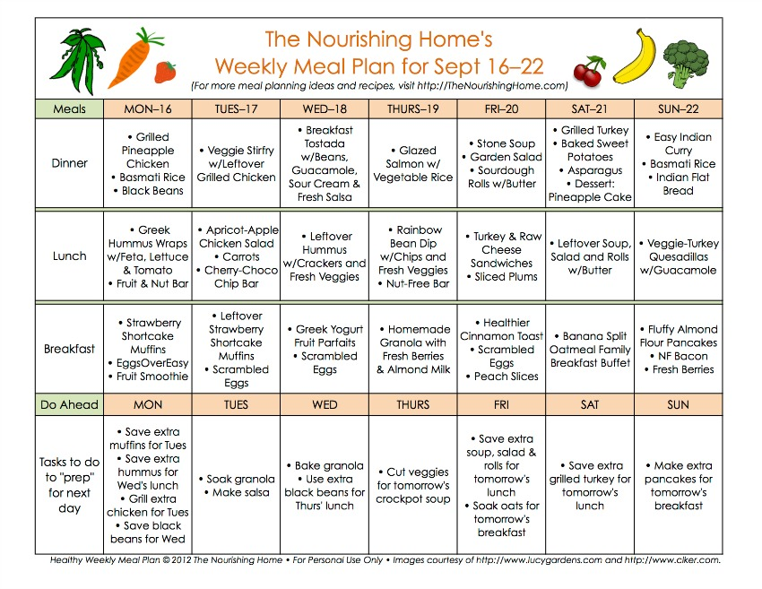 Meal plan monday september 16 29 the nourishing home for Home plan weekly