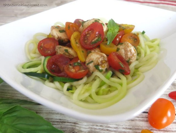 Fresh Caprese with Zoodles Close Up