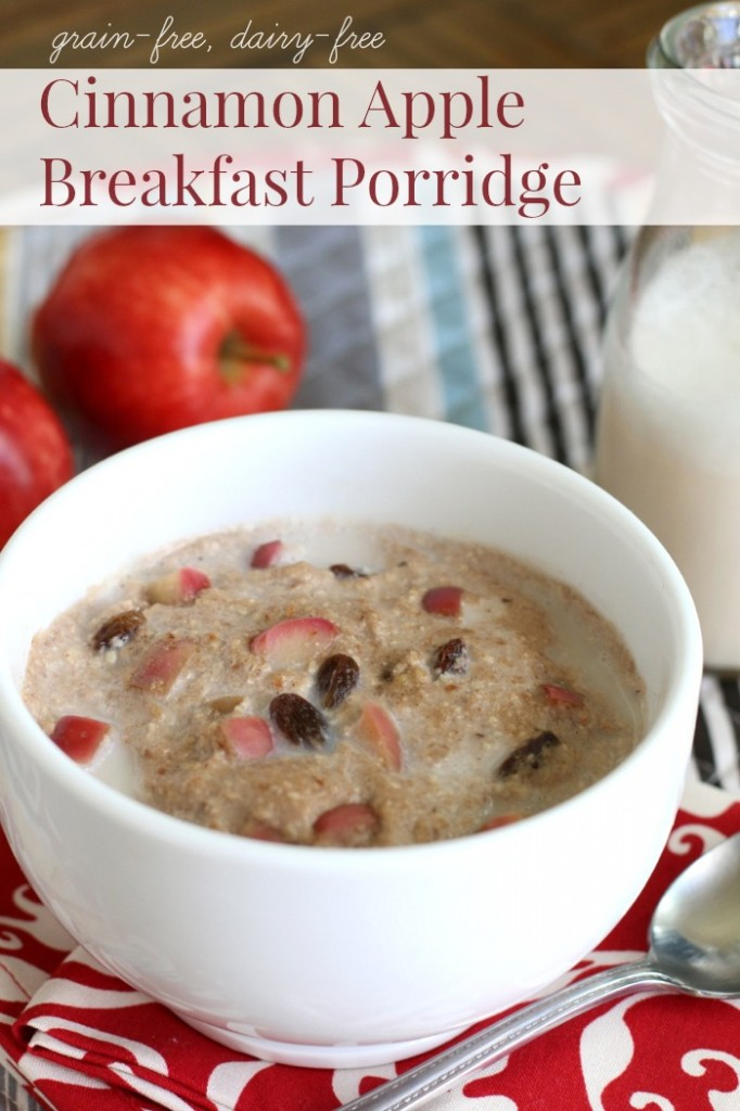 I'm in love with this delicious dairy free and grain-free breakfast porridge with its rich cinnamon-apple flavor delightfully paired with a creamy, oat-like chewy texture.