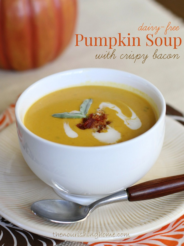 Dairy-Free Pumpkin Soup with Crispy Bacon