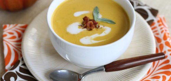 Pumpkin Soup with Crispy Bacon & CoconutSwirl