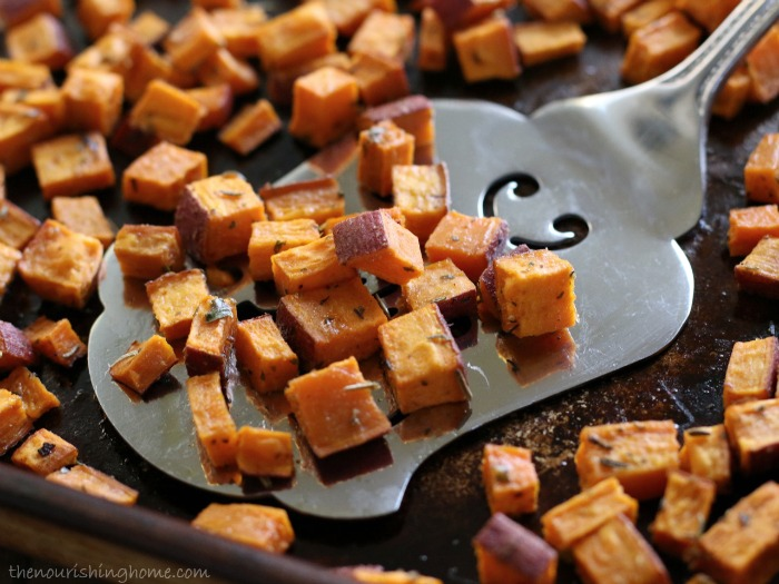 These Roasted Herb Sweet Potato Bites with their savory combination of herbs and hint of spicy heat make the perfect side dish for virtually any meal!