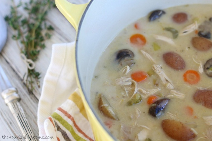 After Thanksgiving, be sure to save all of the leftover turkey meat for use in making delicious future meals like this creamy turkey veggie soup.