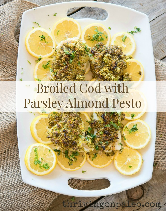 This parsley almond pesto is so quick and easy to make. Simply throw the ingredients in the food processor, spread over the cod and bake for 5-10 minutes. It's easy enough for a weeknight dinner, but elegant enough for guests. Plus, it's simply delicious!