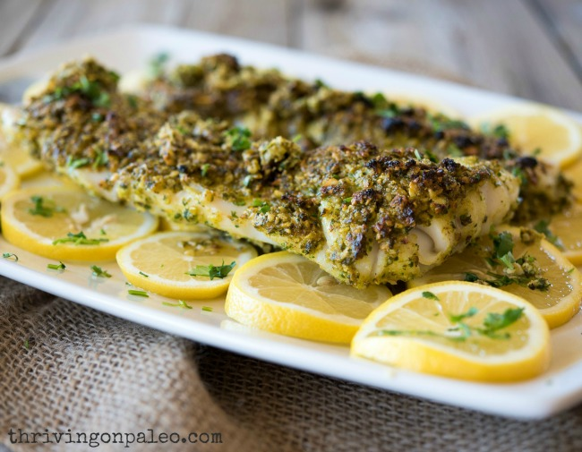 Broiled Cod With Parsley Almond Pesto The Nourishing Home