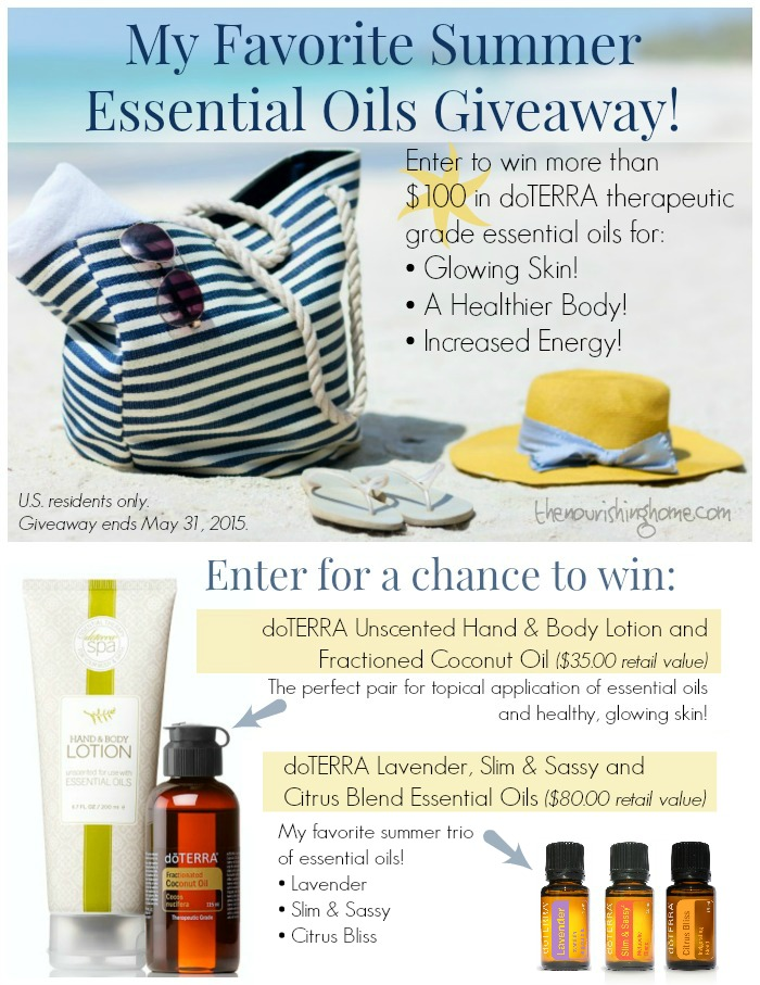 "To celebrate the launch of my brand new ""Nourishing Oils Newsletter,"" I'm excited to share a few of my favorite essential oils perfect for summer! Hurry – giveaway ends May 31, 2015. Enter here for a chance to WIN!"