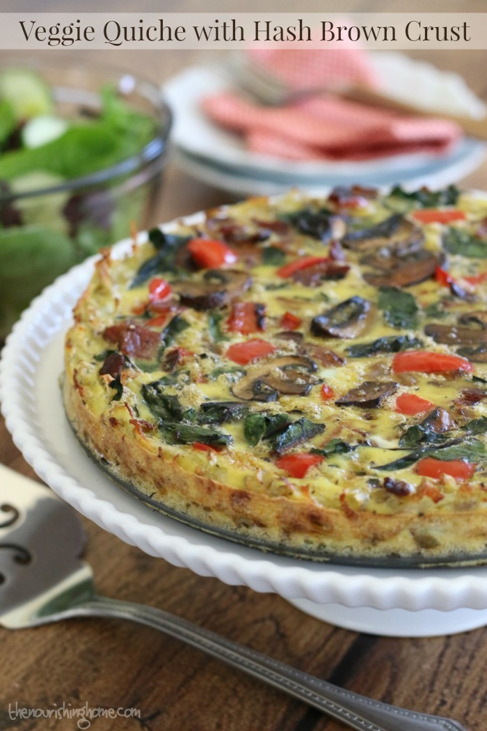 This Veggie Quiche with Hash Brown Crust is a unique and savory combination that the whole family will enjoy whether they're gluten-free or not!
