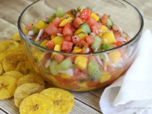 Watermelon Salsa Plantain Chips