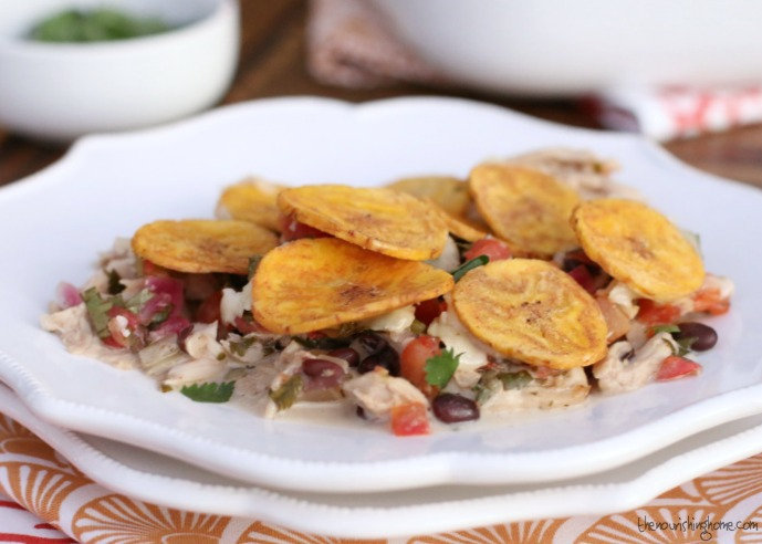 This simple grain free Mexican casserole recipe combines the fresh, light flavors of pico de gallo, cilantro and lime with the deep hearty richness of roast chicken, black beans and Mexican-style seasonings. Topped with crunchy plantain chips, and you'll never miss the grains usually found in casseroles!