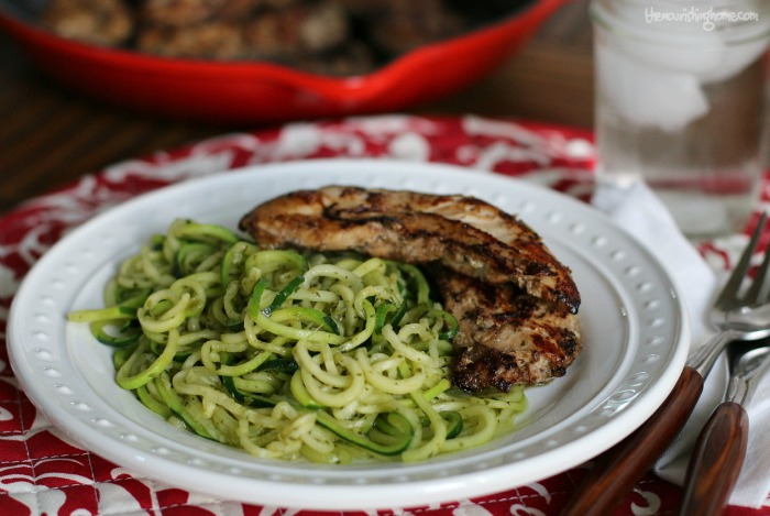 This Balsamic Chicken is a quick and easy way to achieve moist and tender chicken. Adding the avocado pesto zoodles helps to kick it up a notch!
