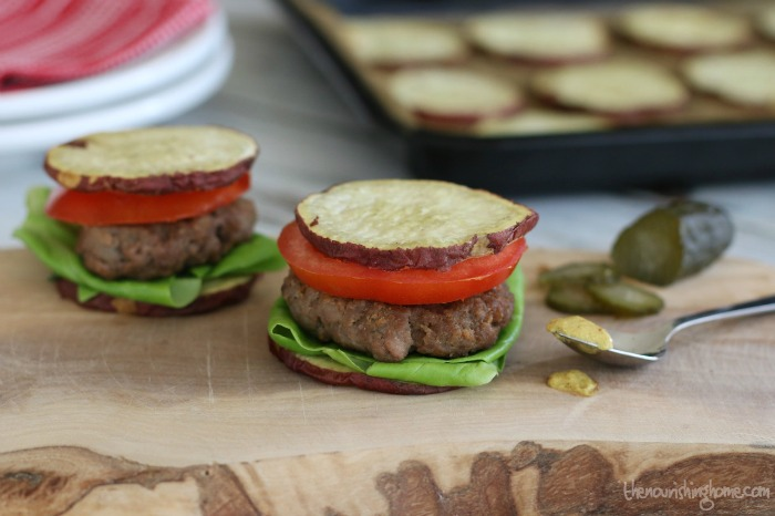Going grain free or doing a Whole30 doesn't mean you have to completely give up sandwiches or hamburgers. Find out how to make sweet potato buns. You're going to love them!