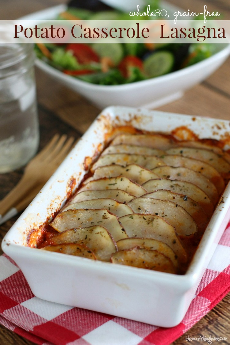 Tender potatoes smothered in marinara sauce and Italian sausage will convince your taste buds that pasta isn't necessary to make a delicious whole30 lasagna.