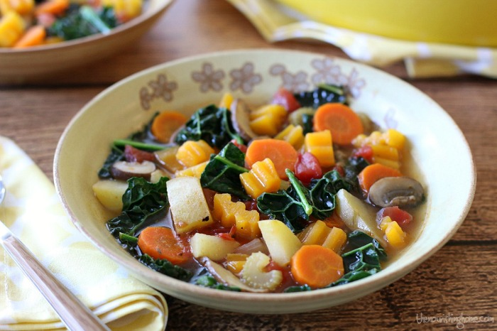 The perfect comfort food on a rainy day or chilly winter's night, this Rustic Veggie Soup is a colorful rainbow of healthy, savory flavor.