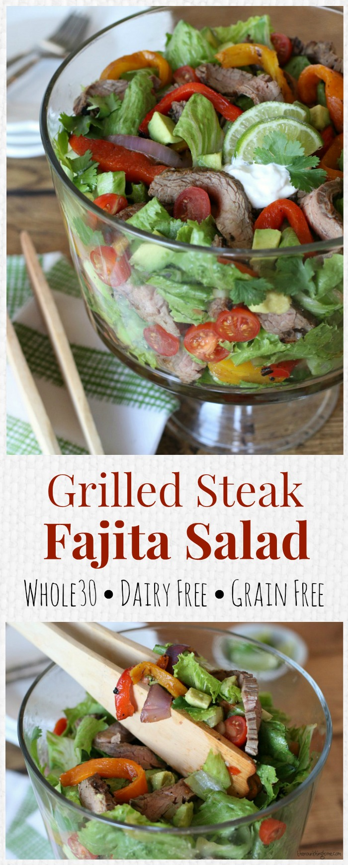 The bold and juicy flavors of perfectly seasoned steak nestled in a bed of grilled veggies makes this Grilled Fajita Salad over-the-top GOOD!