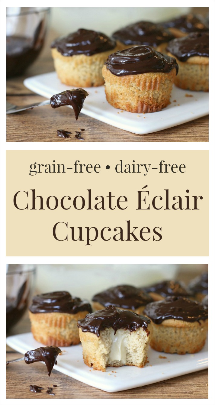 Simple, yet decadent – one creamy, luscious bite of these delectable grain-free and dairy free Chocolate Eclair Cupcakes is all it takes to fall in love!