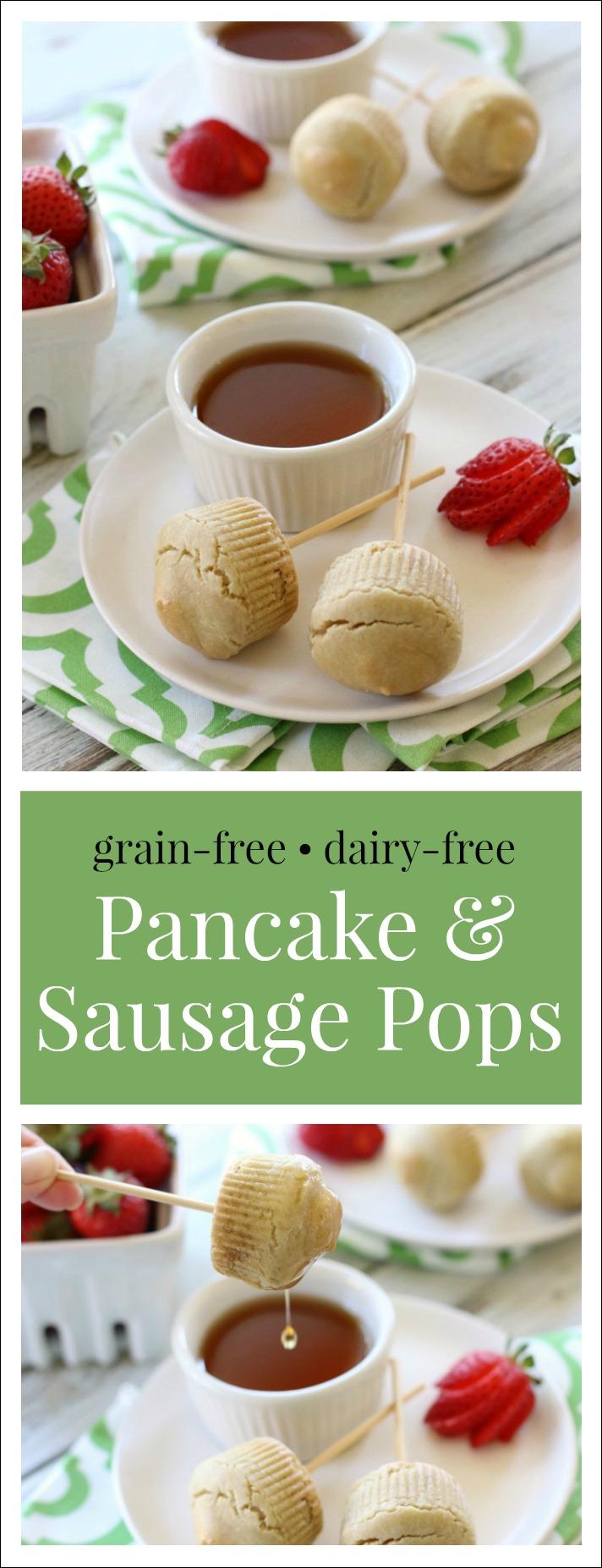 These adorable little kid-favorite Pancake & Sausage Pops have a delicious maple-sausage center encased in a fluffy grain-free pancake muffin.