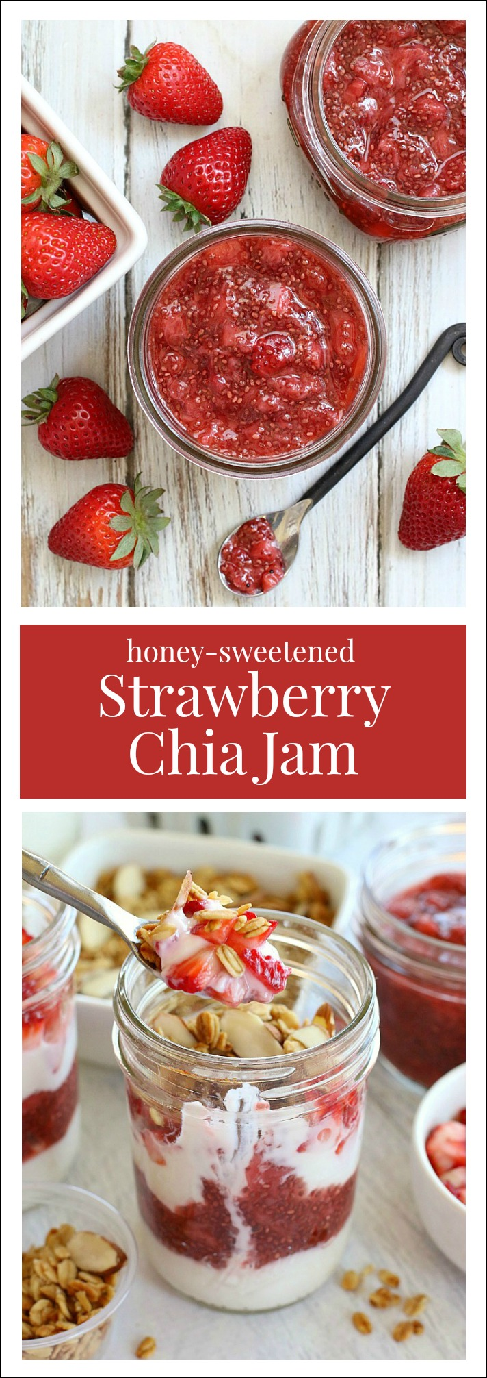 Strawberry Chia Jam! With 5 wholesome ingredients and just 15 minutes time, you can create a healthier fruit spread full of fresh strawberry flavor!