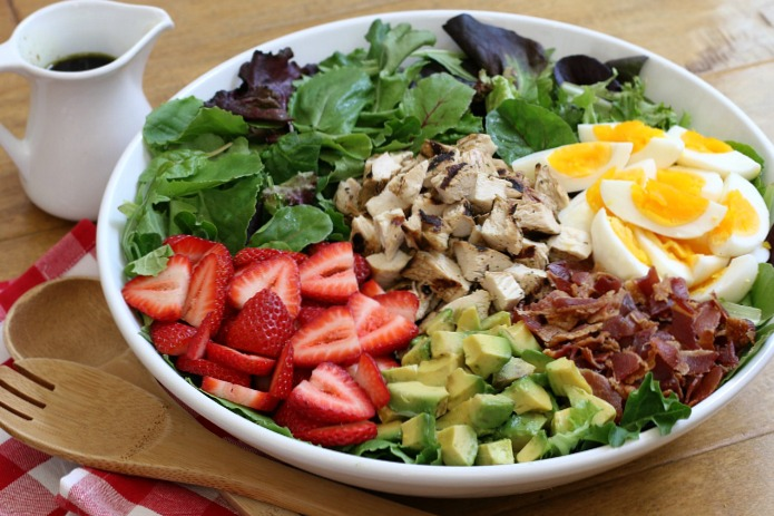 Strawberry Cobb Salad makes a delightful weeknight dinner, or serve it buffet-style for a beautiful dish perfect for summer entertaining!