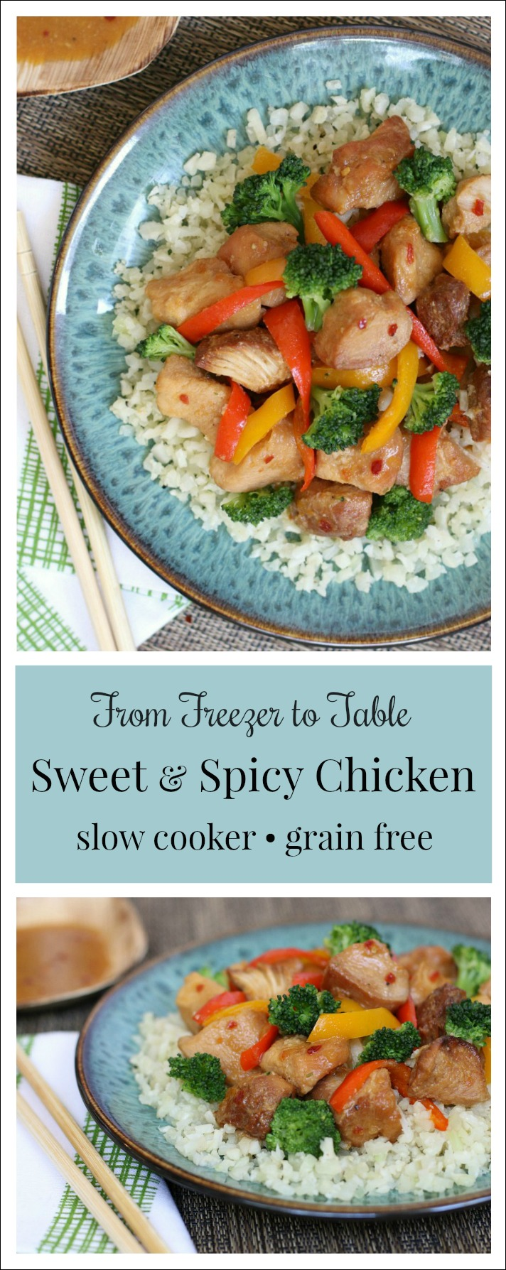 Slow Cooker Sweet & Spicy Chicken! Simply toss this tasty freezer meal right into your slow cooker and enjoy a super-easy home-cooked meal!