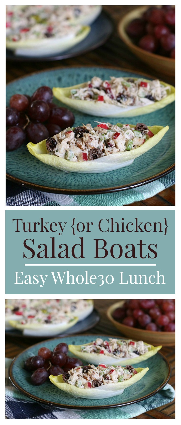 Dive into a simply delicious way to use up leftover roast turkey {or chicken}! These easy Turkey Salad Boats are as delicious as they are adorable!