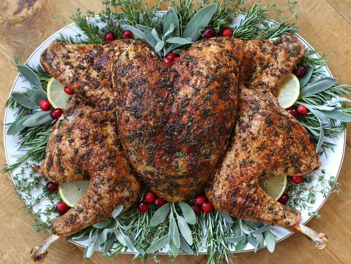 Herb-Stuffed Roasted Spatchcock Turkey